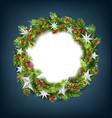 christmas wreath with silver stars for happy new vector image