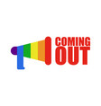 coming out lgbt sign icon social network rainbow vector image vector image