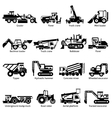 Construction Machines Black White Icons Set vector image vector image