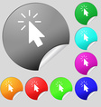 Cursor icon sign Set of eight multi colored round vector image vector image