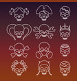 cute linear skulls icons collection vector image