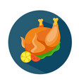 flat style baked chicken icon vector image vector image