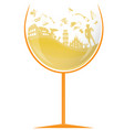 glass italian white wine with symbol element vector image vector image
