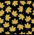 Gold glitter maple fall tree leaf seamless pattern