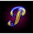 golden and blue letter p vector image vector image