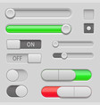 gray web buttons push buttons and sliders vector image vector image
