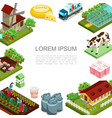 isometric agriculture and farming template vector image vector image
