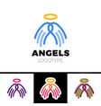 line wings and halo simple logo vector image vector image