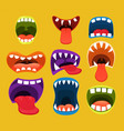 monster mouths funny facial expression vector image vector image