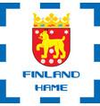 national ensigns flag and emblem of finland - hame vector image vector image