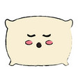 pillow bed kawaii character vector image