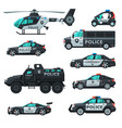 police vehicles collection emergency patrol vector image
