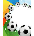 rainbow background and soccer balls vector image vector image