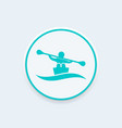 rowing kayak canoe icon vector image vector image