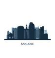 San jose skyline monochrome silhouette