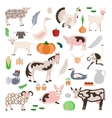 Set farm animals and vegetables icon vector image