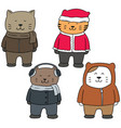set of cat in winter clothes vector image