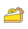 slice of lemon pie sweets and pastry set filled vector image