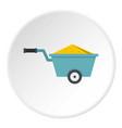 wheelbarrow full of sand icon circle vector image vector image