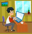 cartoon young programmer man is working vector image