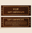 a gift certificate is ornate with diamonds vector image