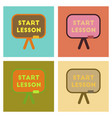 assembly flat icons board start lesson vector image vector image