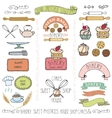 Bakery cakes Labels elementsDoodle logo template vector image