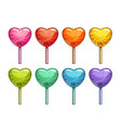 cartoon colorful heart shaped lollipops set candy vector image