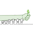 cartoon protesting people with big green fist vector image vector image