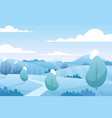 christmas snow landscape in winter snowy fields vector image
