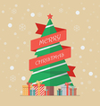 Christmas tree with red ribbon vector image vector image