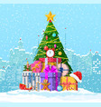 christmas winter cityscape fir tree and gifts vector image vector image