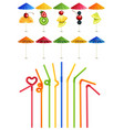 cocktail straws and umbrellas vector image vector image