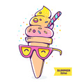 colorful of character gradient ice cream wit vector image vector image