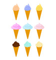 cone ice cream set dessert waffle cup sweetness vector image