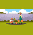 couple farmers planting young tree african vector image vector image