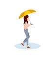 cute girl walking with umbrella vector image