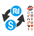 dollar shekel exchange icon with lovely bonus vector image vector image