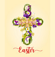 easter cross made up of flowers greeting card vector image