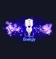 eco energy saving light bulb glowing compact vector image vector image