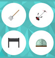 flat icon dacha set of hothouse barbecue grass vector image vector image