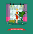 flat of cleaning woman with vector image