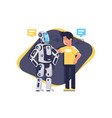 flat young man talking to robot with speech bubble vector image
