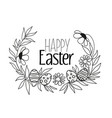 floral decoration silhouettes with eggs vector image