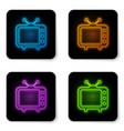 glowing neon tv icon isolated on white background vector image vector image