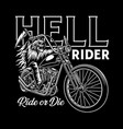 grim reaper riding motorcycle on black vector image vector image