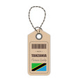 hang tag made in tanzania with flag icon isolated vector image vector image