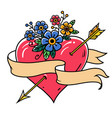 heart pierced by gold arrow with ribbon flowers vector image vector image
