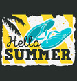 hello summer time design with flip flops slippers vector image vector image