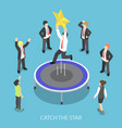 isometric businessman jumping on the trampoline vector image